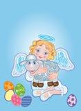 Anjo com um carneiro ilustração royalty free