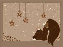 Anjo com um copo de café ilustração stock