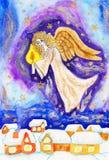 Anjo com vela, retrato pintado do Natal Fotos de Stock Royalty Free