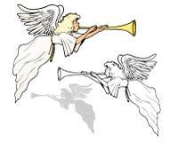 Anjo da insônia que funde uma trombeta imagens de stock royalty free