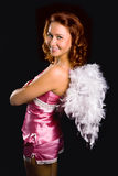 Anjo da menina da beleza na cor-de-rosa Foto de Stock Royalty Free