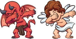 Anjo de toque ligeiro e diabo dos desenhos animados ilustração stock