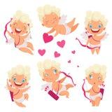 Anjo do bebê de Amur O Eros pequeno greece do deus do cupido engraçado bonito caçoa com imagens românticas do vetor dos caçadores ilustração royalty free