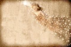 Anjo do cartão de Natal do vintage Fotografia de Stock