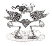 Anjo do cupido do crânio da arte Fotos de Stock Royalty Free