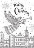 Anjo do Feliz Natal com voo do chifre acima da cidade da noite Imagens de Stock