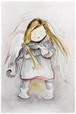 Anjo do inverno com gato Fotos de Stock Royalty Free