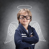 Anjo do menino de escola com asas e halo Fotos de Stock Royalty Free