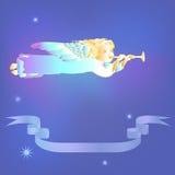 Anjo do Natal com trombeta Imagens de Stock