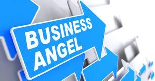 Anjo do negócio no sinal azul da seta ilustração do vetor