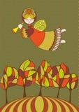 Anjo do outono com chifre Fotos de Stock Royalty Free