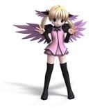 Anjo doce da fantasia com o pigtail do anf das asas. Foto de Stock Royalty Free