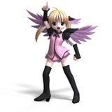 Anjo doce da fantasia com o pigtail do anf das asas. Com C Imagem de Stock Royalty Free
