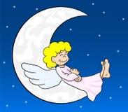 Anjo dos desenhos animados que dorme na lua Fotografia de Stock