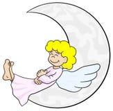 Anjo dos desenhos animados que dorme na lua Imagens de Stock