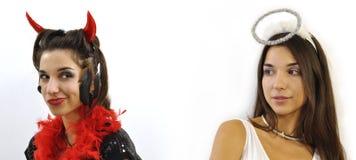 Anjo e demónio Foto de Stock Royalty Free
