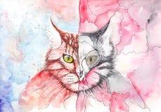 Anjo e demônio do gato ilustração stock