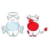 Anjo e diabo ilustração royalty free