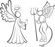 Anjo e diabo Bom contra o mal tomada de decisão ilustração do vetor
