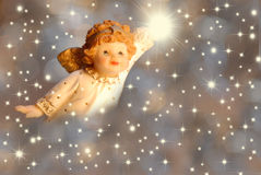 Anjo e estrelas do cumprimento do Natal Imagens de Stock Royalty Free