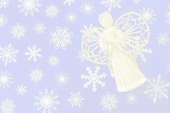 Anjo e flocos de neve Imagens de Stock Royalty Free