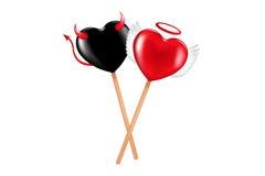 Anjo e Lollipops do demónio. Vetor Imagens de Stock Royalty Free