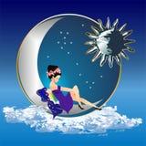 Anjo e a lua Imagens de Stock Royalty Free