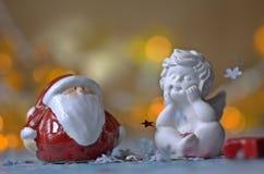 Anjo e Santa Claus Imagens de Stock Royalty Free