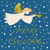 Anjo em um fundo azul, vetor do Natal ilustração royalty free