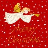 Anjo em um fundo vermelho, vetor do Natal ilustração do vetor