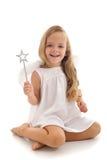 Anjo feericamente pequeno com varinha mágica Fotos de Stock Royalty Free