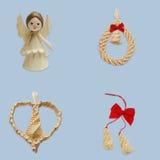 Anjo, grinalda com sino, coração e duas gotas Fotografia de Stock