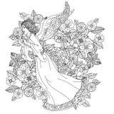 Anjo no ornamento floral de oriente Fotografia de Stock Royalty Free
