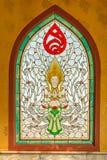 Anjo no vidro da mancha Art Window tailandês Tailândia norte Imagem de Stock