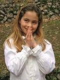 Anjo (oração) com um rosário imagem de stock