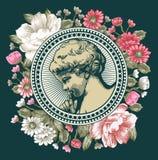 Anjo Oração retro Criança do bebê do menino Cartão do quadro Flores barrocos bonitas Desenho, gravura Ilustração do victorian do  Fotografia de Stock Royalty Free