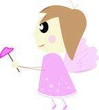 Anjo pequeno bonito em um vestido cor-de-rosa. ilustração stock