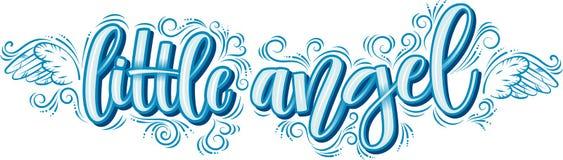 Anjo pequeno que rotula na inscrição azul isolada no fundo branco ilustração stock