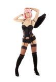 Anjo preto de dança da roupa interior com cabelo cor-de-rosa Fotografia de Stock