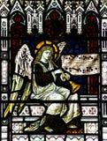 Anjo que faz a música no vitral Fotografia de Stock Royalty Free