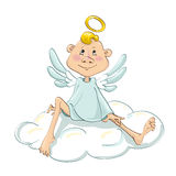 Anjo que senta-se em uma nuvem Imagens de Stock Royalty Free