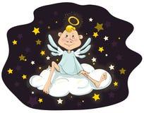 Anjo que senta-se em uma nuvem Fotos de Stock Royalty Free