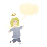 anjo retro dos desenhos animados com bolha do discurso Fotos de Stock Royalty Free