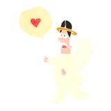 anjo retro dos desenhos animados com bolha do discurso Imagens de Stock Royalty Free