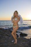 Anjo 'sexy' que está em rochas na praia Imagens de Stock Royalty Free