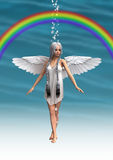 Anjo sob o arco-íris Foto de Stock