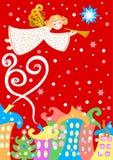 Anjo sobre a cidade do inverno, cartão do Natal, ilustração do vetor ilustração do vetor