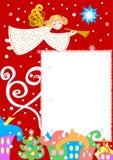 Anjo sobre a cidade do inverno, cartão do Natal, ilustração do vetor ilustração royalty free