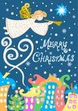 Anjo sobre a cidade do inverno, cartão do Natal, ilustração do vetor, com Feliz Natal de uma inscrição ilustração royalty free