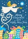 Anjo sobre a cidade do inverno, cartão do Natal, ilustração do vetor, com uma inscrição - Feliz Natal e ano novo feliz ilustração stock